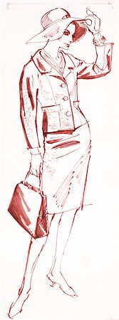 pretty pictures to draw - Vintage Fashion Sketch Stock Photo - Premium Royalty-Free, Code: 6106-06335859