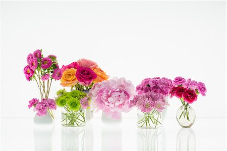Bouquets of flowers on a white background Stock Photo - Premium Royalty-Free, Code: 6106-06434428