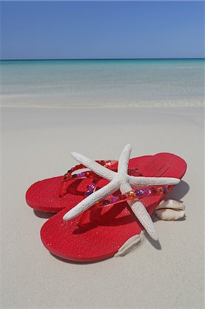 sea star - flip flops, starfish and shell on tropical beach Stock Photo - Premium Royalty-Free, Code: 6106-06434721