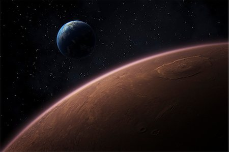 Mars and Earth Stock Photo - Premium Royalty-Free, Code: 6106-06434847