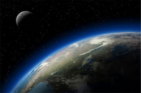 Earth and moon as seen from space Stock Photo - Premium Royalty-Free, Code: 6106-06434851