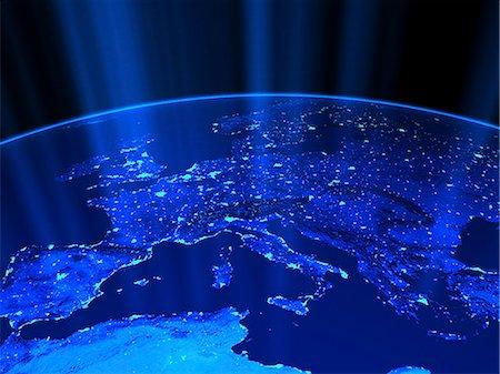 European city lights Stock Photo - Premium Royalty-Free, Code: 6106-06434858
