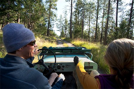 POV of man and woman in old Willy's jeep. Stock Photo - Premium Royalty-Free, Code: 6106-06535895