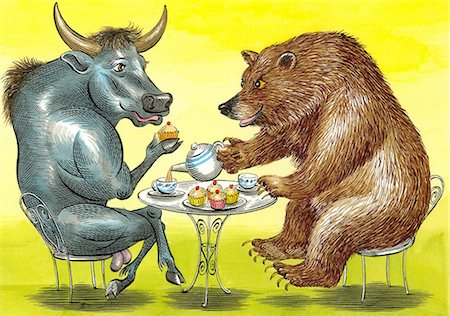 Bull and Bear having a cup of tea Stock Photo - Premium Royalty-Free, Code: 6106-06614586