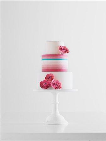 rose patterns - Pink, Blue, & White Striped Wedding Cake Stock Photo - Premium Royalty-Free, Code: 6106-06831731