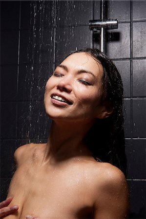 shower - Topless Woman Bathing In Shower Stock Photo - Premium Royalty-Free, Code: 6106-06831801