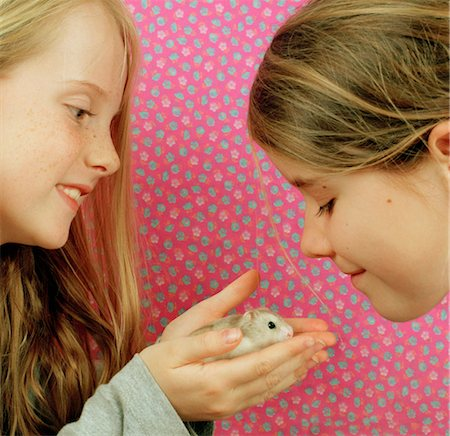 Two girls (7-9), one holding hamster, smiling, side view Stock Photo - Premium Royalty-Free, Code: 6106-06981040