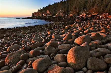 USA, Maine, Acadia National Park, Otter Cliffs and beach at sunrise Stock Photo - Premium Royalty-Free, Code: 6106-06981947