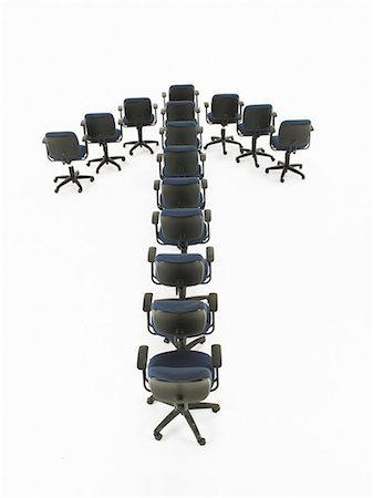 descriptive - Office chairs forming arrow Stock Photo - Premium Royalty-Free, Code: 6106-06982587