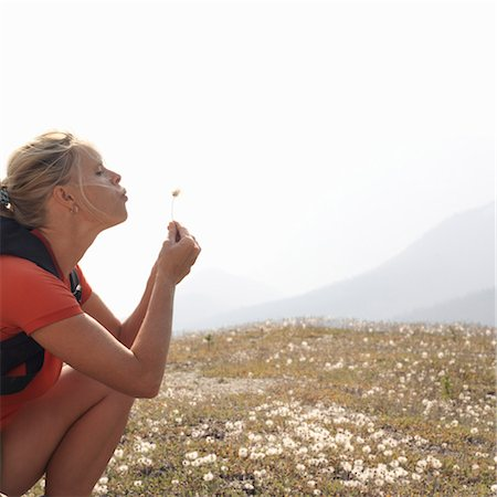 Woman blowing dandelion seed head in meadow Stock Photo - Premium Royalty-Free, Code: 6106-06985889