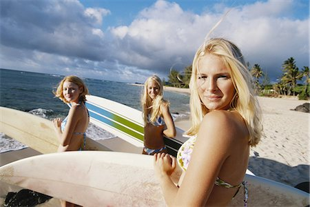 Teenage Girls on Beach with Surfboards Stock Photo - Premium Royalty-Free, Code: 6106-06993692