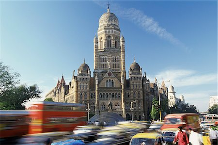 Victoria Railway Station and Busy Traffic, Bombay, India Stock Photo - Premium Royalty-Free, Code: 6106-07004946