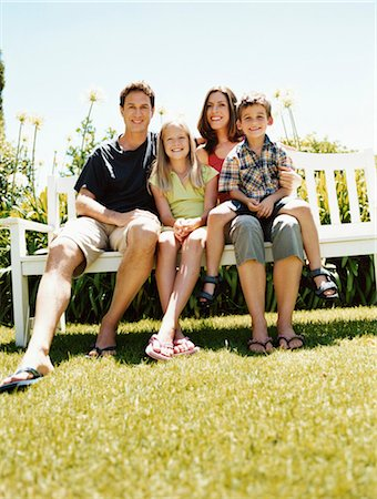 preteen thong - Family of Four Sit on a Park Bench in Summer Stock Photo - Premium Royalty-Free, Code: 6106-07005593