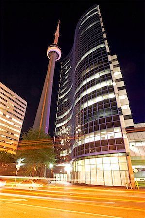 descriptive - Canada, Toronto, CN tower at night, blurred motion Stock Photo - Premium Royalty-Free, Code: 6106-07024419
