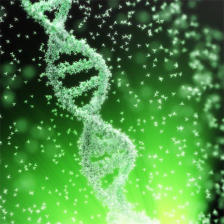 Flow of atoms forming a DNA chain Stock Photo - Premium Royalty-Free, Code: 6106-07029713