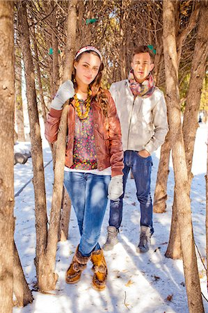 A portrait of two friends outside in the snow. Stock Photo - Premium Royalty-Free, Code: 6106-07120063