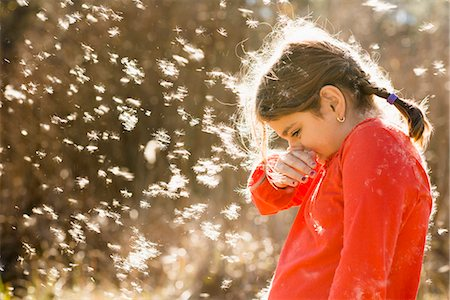 people coughing or sneezing - Girl suffering from allergies outdoors Stock Photo - Premium Royalty-Free, Code: 6106-07121782