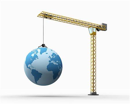 A crane carries a globe Stock Photo - Premium Royalty-Free, Code: 6106-07202882