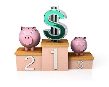 Dollar symbol on top of podium with piggy banks Stock Photo - Premium Royalty-Free, Code: 6106-07202909