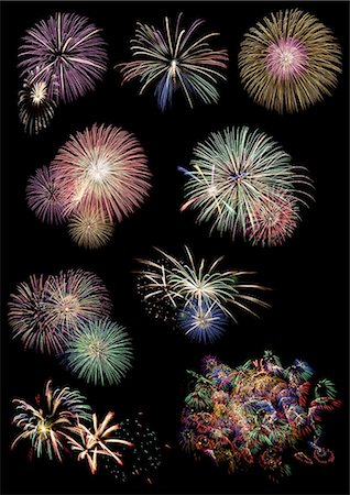 fireworks colored picture - Fireworks collection Stock Photo - Premium Royalty-Free, Code: 6106-07349968
