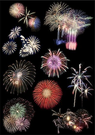 fireworks colored picture - Fireworks collection Stock Photo - Premium Royalty-Free, Code: 6106-07349969