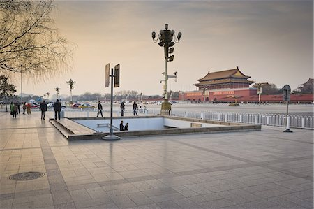 Tiananmen Square, Gate of Heavenly Peace at dusk Stock Photo - Premium Royalty-Free, Code: 6106-07350109