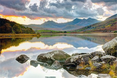 Wales, Snowdonia National Park, Mymbyr Lakes Stock Photo - Premium Royalty-Free, Code: 6106-07350135