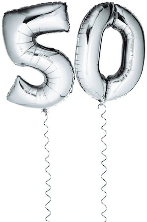 Silver balloons in the shape of a number 50 Stock Photo - Premium Royalty-Free, Code: 6106-07350474
