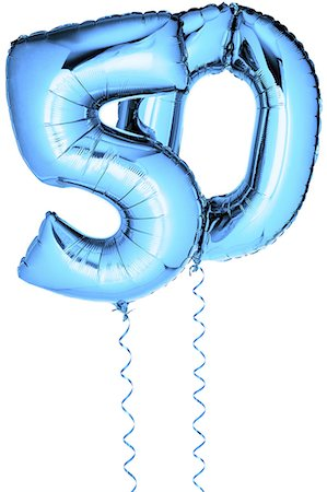 Blue balloons in the shape of a number 50 Stock Photo - Premium Royalty-Free, Code: 6106-07350520
