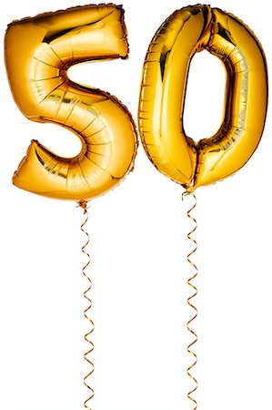 Gold balloons in the shape of a number 50 Stock Photo - Premium Royalty-Free, Code: 6106-07350613