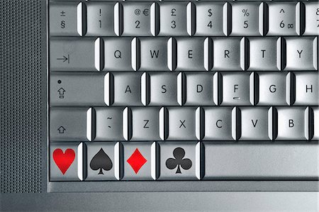diamond - Computer keyboard with playing card symbol keys Stock Photo - Premium Royalty-Free, Code: 6106-07454941