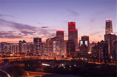 evening cityscape of Beijing CBD area Stock Photo - Premium Royalty-Free, Code: 6106-07455073