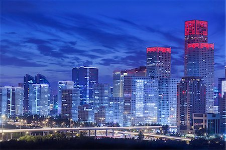 evening cityscape of Beijing CBD area Stock Photo - Premium Royalty-Free, Code: 6106-07455070