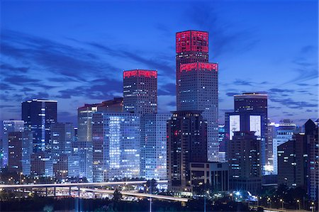evening cityscape of Beijing CBD area Stock Photo - Premium Royalty-Free, Code: 6106-07455077