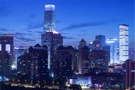 evening cityscape of Beijing CBD area Stock Photo - Premium Royalty-Free, Code: 6106-07455075