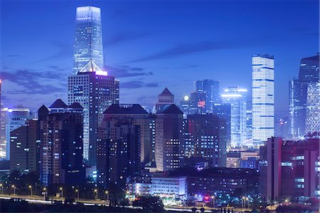 evening cityscape of Beijing CBD area Stock Photo - Premium Royalty-Free, Code: 6106-07455076