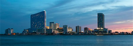 Atlantic City skyline seen from inlet at dusk. Stock Photo - Premium Royalty-Free, Code: 6106-07455668