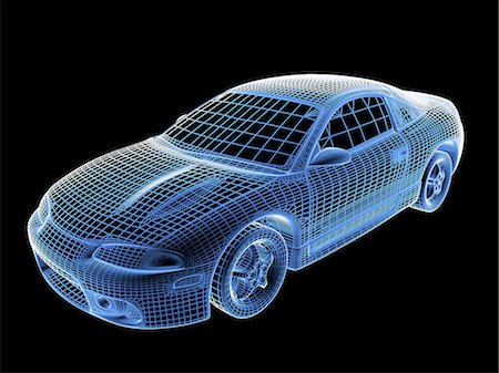 Car, wireframe Stock Photo - Premium Royalty-Free, Code: 6106-07493240
