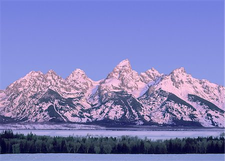 snow capped - Teton Mountain Range at dawn Stock Photo - Premium Royalty-Free, Code: 6106-07539524