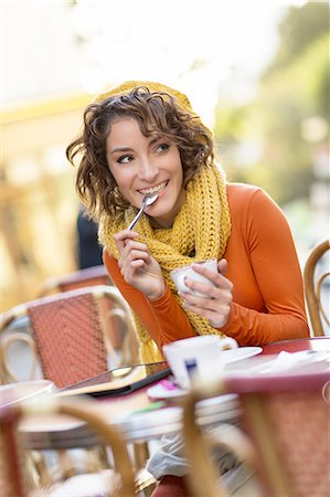 fall - Young woman having a cafe at terrace. Stock Photo - Premium Royalty-Free, Code: 6106-07602109