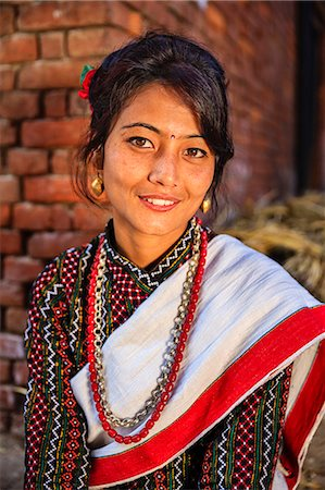 Nepali woman in traditional dress Stock Photo - Premium Royalty-Free, Code: 6106-08100367