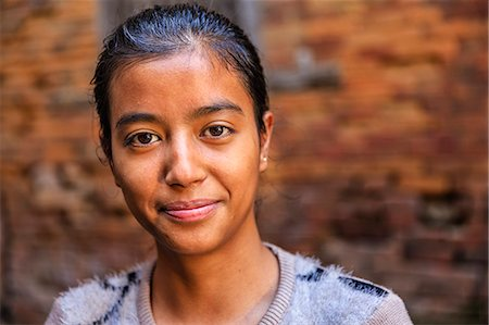 Portrait of young Nepali girl in Bhaktapur Stock Photo - Premium Royalty-Free, Code: 6106-08100369