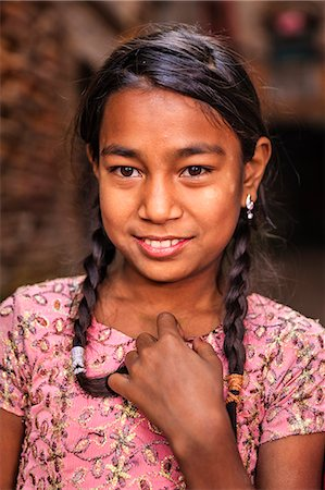 Portrait of young Nepali girl in Bhaktapur Stock Photo - Premium Royalty-Free, Code: 6106-08100371