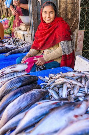 Nepali woman selling fishes on local market Stock Photo - Premium Royalty-Free, Code: 6106-08277782