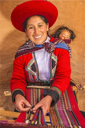 south american woman - Peruvian woman weaving in Sacred Valley Stock Photo - Premium Royalty-Free, Code: 6106-08278309