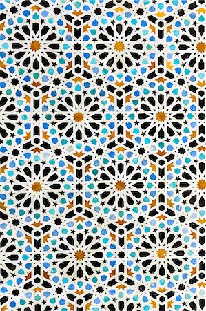 decoration pattern - Arabic mosaic inside medina of Fes in Morocco Stock Photo - Premium Royalty-Free, Code: 6106-08278417