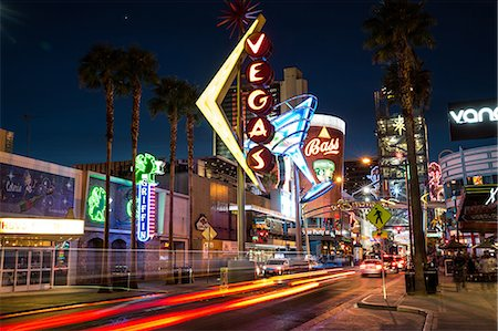 Downtown Las Vegas at Night, USA Stock Photo - Premium Royalty-Free, Code: 6106-08350938