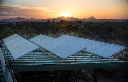 solar power - Solar panels at sunset Stock Photo - Premium Royalty-Free, Code: 6106-08480507