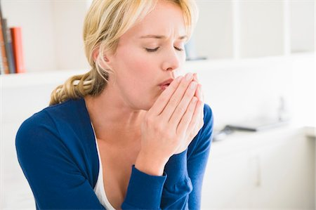 people coughing or sneezing - Close-up of a woman coughing Stock Photo - Premium Royalty-Free, Code: 6108-05864259