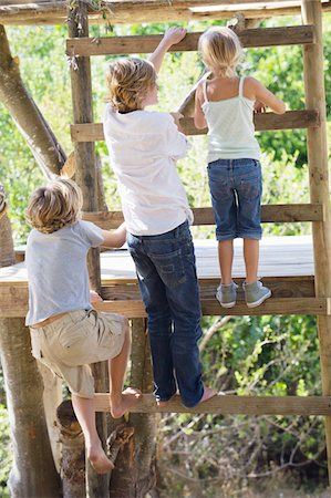 Rear view of children climbing ladders to tree house Stock Photo - Premium Royalty-Free, Code: 6108-05872693